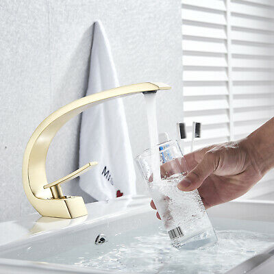 Basin Faucet Brass Brushed Gold Faucet Sink Mixer Tap Vanity Hot Cold Water Bath
