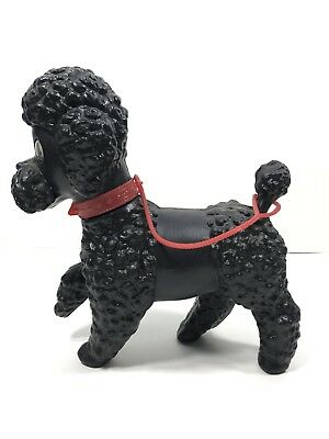 Vintage Black Plastic Poodle Toy with Red Leash | Made in Italy