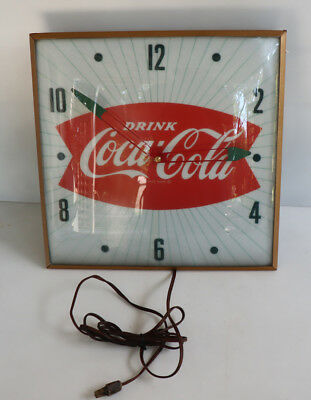 "1950s 15"" COCA COLA Fishtail Soda Pop Pam Clock     Sign"