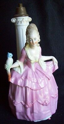 """Antique Lamp Base 10"""" Tall Lady In Pink Dress w/Bird --Germany"""