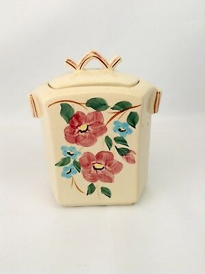Vintage 1940s McCoy Pottery USA Floral Hexagon Finial Cookie Jar Canister