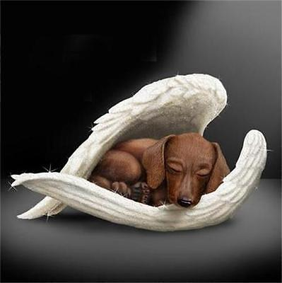 DACSHUND Leave Paw Prints DOG in Angel Wings Figurine NEW