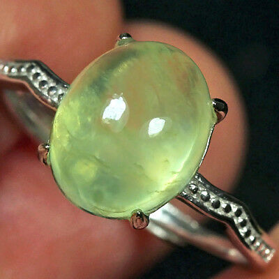 12.35CT 100% Natural 18K Gold Plated Green Prehnite Cab Ring UDPG160