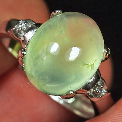 16.7CT 100% Natural 18K Gold Plated Green Prehnite Cab Ring UDPG167