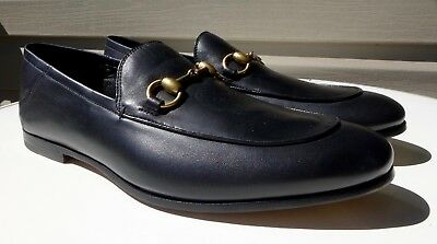 868038f4bbf NEW Mens GUCCI BRIXTON Horsebit Black Leather FOLDABLE Luxury Loafer Shoes  US8.5
