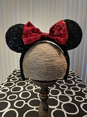 New Minnie Mouse Disney Sequin Ears, Black and Red, New with Tags