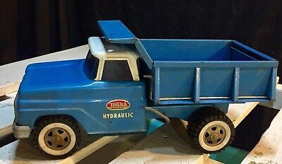 Vintage Tonka 1960s Blue & White Pressed Steel Hydraulic Dump Truck Toy
