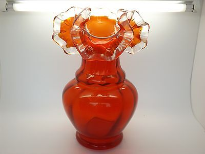 A Lovely Early Vintage Fenton Red Overlay Vase With Clear White Ruffled Edge