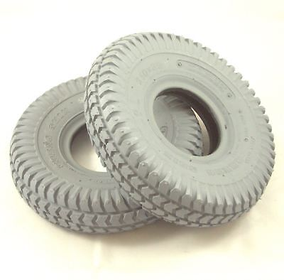 Pair of 3.00-4 260x85 Grey Block Tread Pneumatic Mobility Scooter Tyres