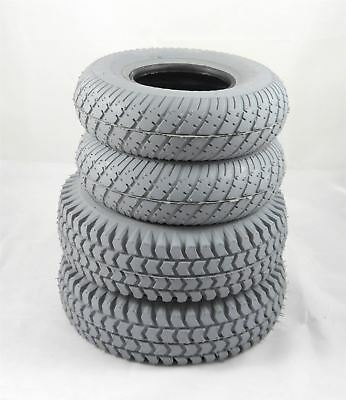 Set of 4 Grey Block Tyres for Sapphire 2 & LS  (2 x3.00-4) (2 x 2.80-2.50-4)