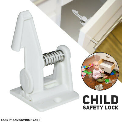 10pc Easy Install Baby Children Invisible Safety Door Cabinet Drawer Spring Lock