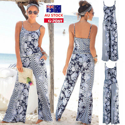 Women Floral Vest Long Wide Leg Pants Jumpsuit Ladies Casual Beach Club Romper