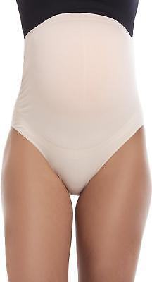 Camille Womens Ladies Beige Over The Bump High Waist Maternity Briefs