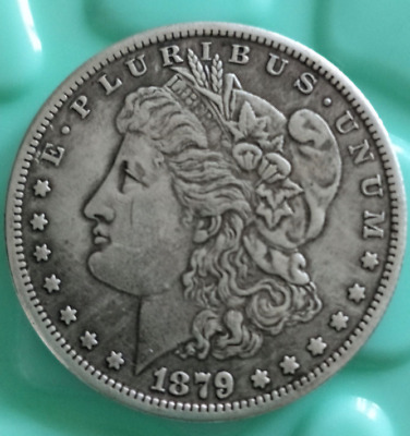 Old-United States of America 1879 ONE DOLLAR-silver-Coin-Diameter-38-mm
