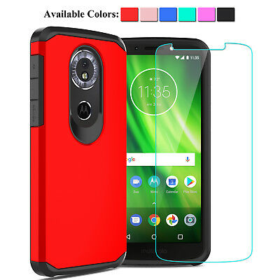 For Motorola Moto G6 Play Shockproof Case Hybrid Rugged Cover + Screen Protector