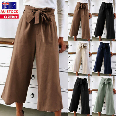 Women Palazzo Yoga Long Wide Leg Pants Ladies High Waist Loose Casual Trousers