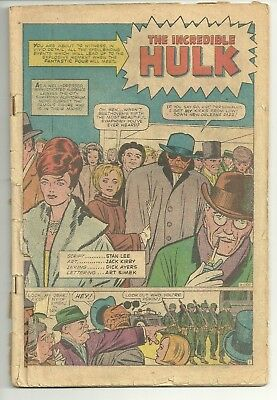 FANTASTIC FOUR #12!  COVER-LESS Silver Age 1st Meeting w the HULK!!