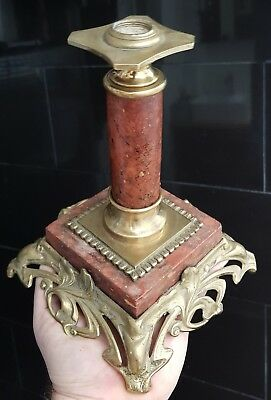 Antique Victorian French Red Marble Oil Lamp Base Art Nouveau Solid Brass 22cm