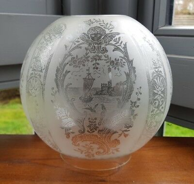 Antique Victorian Cherub Putti Ship Bird Glass Acid Etched Oil Lamp Shade 4 inch
