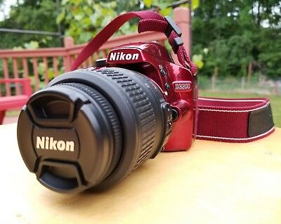 Nikon D D3200 24.2MP Digital SLR Camera - Red 18-55mm Box, papers included!