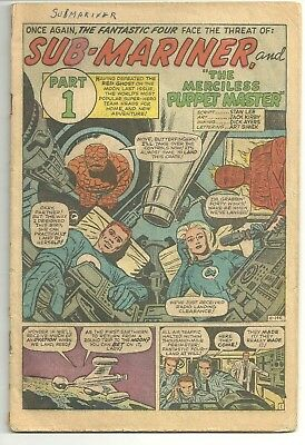 FANTASTIC FOUR #14 (May 1963) COVERLESS - Sub-Mariner & Puppet Master!