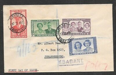 SWAZILAND - 1947 Royal Visit Set on First Day Cover Very Nice!  (Jun 055)
