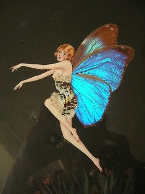 Art Deco - Butterfly Wing - Large Framed Fairy Picture - Signed & Initialled.