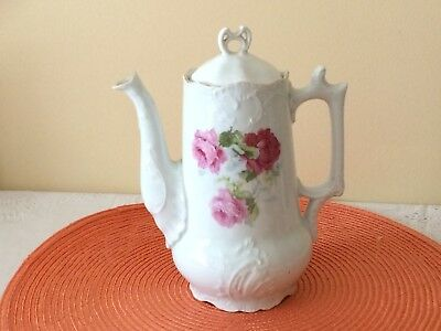 Vintage Victorian Floral Chocolate Pot With Pink Roses