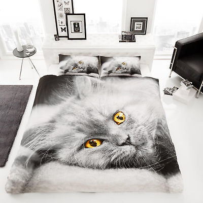 Cat Kitten Animal Print Luxury Duvet Quilt Cover Bedding Set Single Double King