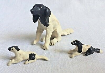Vintage 1940s Momma Dog Figure and 2 Puppies Spaniel Black & White