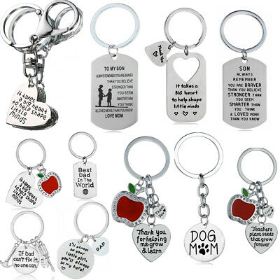 Thank You Gift for Teacher Apple Love Heart Key Ring Pendant Keyring Dad Mum New