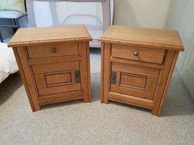 Rustic 2x Pair Solid Oak Bedside Tables with Drawer & Locking Cabinet with Keys