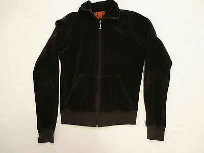 Womens Size Small Juicy Couture Solid Brown Velour Jacket Zip Up Front