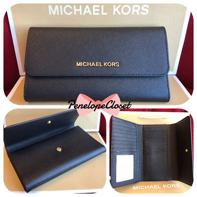 a18e3cf3124015 Nwt Michael Kors Jet Set Travel Saffiano Leather Large Trifold Wallet In  Black