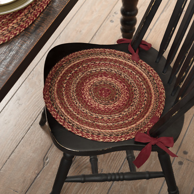New Primitive Country Round Burgundy Green BRAIDED CHAIR PAD Rug Jute Seat Cover