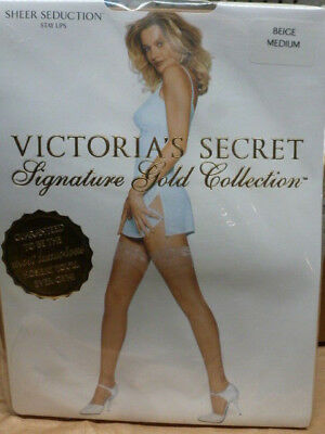NIP Victoria's Secret Signature Gold Thigh-high stay-up stockings BEIGE size M