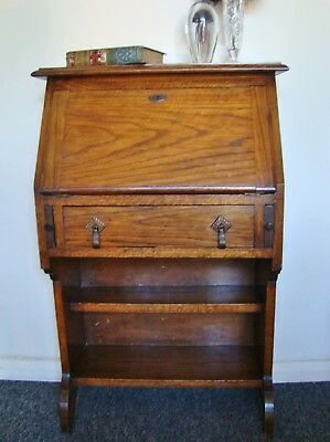 VINTAGE Oak Students Desk Writing Bureau ~ Small with Lower Bookcase Shelves