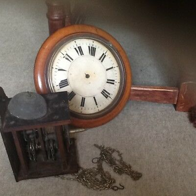 Antique wooden wall mounted postmans clock. FOR SPARES or REPAIRS...