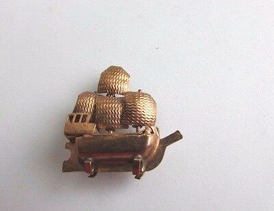 "Dollhouse Sailboat Copper Miniature Figurine 1"" Micro Vintage"