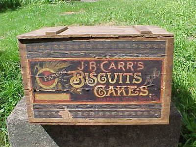 19thc JS CARR Wilkes Barre CRACKERS + BISCUITS Country STORE ADVERTISING BOX