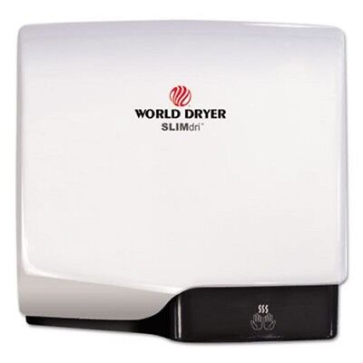 World Dryer SLIMdri Hand Dryer, Aluminum, White (WRLL974A)