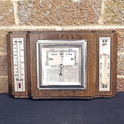 Vintage Barometer, Thermometer & Storm Glass Weather Station  - British Made O.C