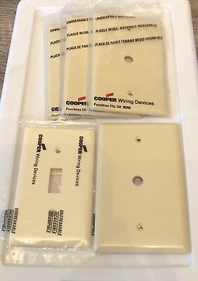 Lot of 5 Cooper Wire Device Coax Outlet Switch Covers Almond Off White PJ13V