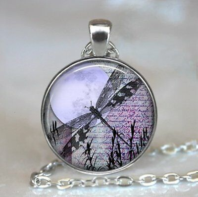 Lavender Moon Dragonfly pendant dragonfly jewelry,purple dragonfly necklace moon