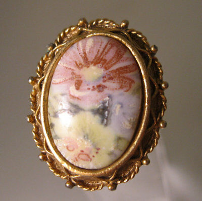 LUZIER Hand Painted Porcelain Perfume Locket Ring Adjustable Fit Most Vintage