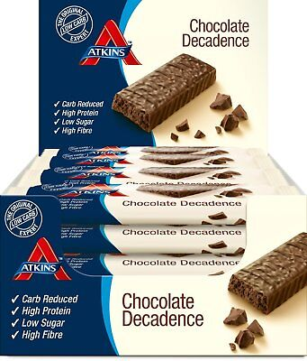 Atkins Low Carb High Protein Chocolate Decadence Bars 16 x 60g - 1.7g Net Carbs