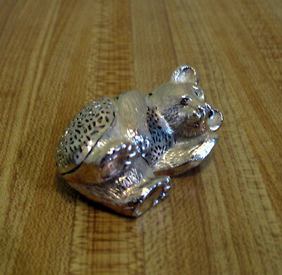 """Christofle France Silver Plate Reclining Bear Cub Figurine """"as is"""""""