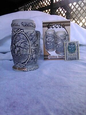 """Coors """"Golden Rails"""" Collector Stein Rocky Mountain Ironhorse Collection"""