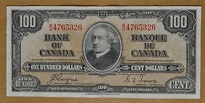 1937 Bank of Canada $100 Note - Canadian Currency