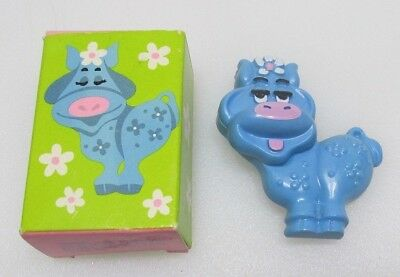 Vintage 1973 Avon Blue Moo Pin Pal Solid Fragrance Glace Cow in Original Box